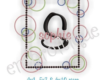 Sophie Ring Bubble Font Frame- Instant Email Delivery Download Machine embroidery design