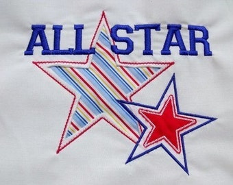 All Star Reverse Applique Set- Instant Download -Digital Machine Embroidery Design