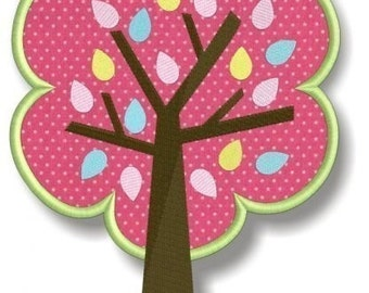 Springtime Birds and Trees - Tree with Leaves Applique- Instant Download -Digital Machine Embroidery Design