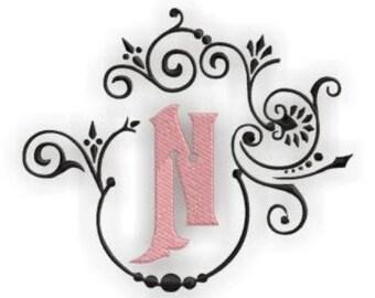 Natalya Monogram Font Frame & Alphabet  Center Monogram Set- Instant Email Delivery Download Machine embroidery design