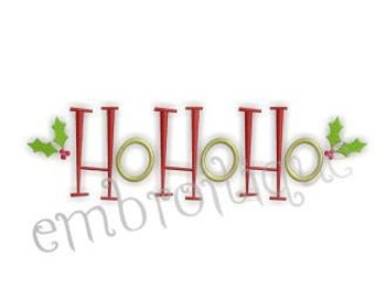 Ho Ho Ho with Holly Berries Christmas- Instant Download -Digital Machine Embroidery Design
