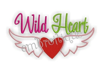 Wild Heart Valentine- Instant Email Delivery Download Machine embroidery design
