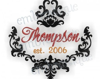 Thompson Damask Font Frame- Instant Email Delivery Download Machine embroidery design