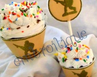 Cupcake Wrapper & Topper Set - Army Monogram and Toy Soldier- Instant Email Delivery Download Machine embroidery design