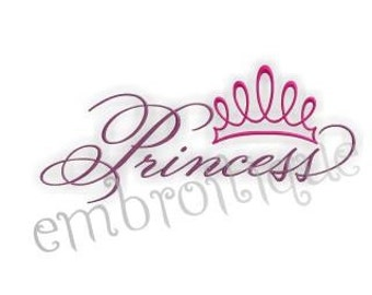 Princess Script with Tiara Embroidery Design- Instant Download -Digital Machine Embroidery Design