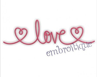 Love Word Doodle Single - Instant Email Delivery Download Machine embroidery design
