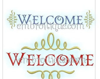 Trendy Welcome  - 2 versions - Instant Download -Digital Machine Embroidery Design