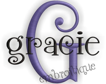 Gracie Embroidery Monogram Font Alphabet Letters Set- Cute and Curly - Works great for boys and girls Instant Download