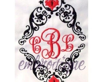 Diamond Decadence Monogram Font Frame- Instant Email Delivery Download Machine embroidery design