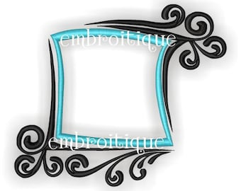 Swirly Fun Font Frame- Instant Email Delivery Download Machine embroidery design