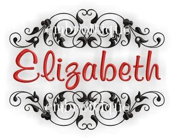 Elizabeth Monogram Font Frame- Instant Email Delivery Download Machine embroidery design
