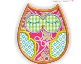 Adorable Owl Applique- Instant Download -Digital Machine Embroidery Design