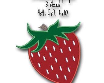 Strawberry Applique - Instant Download -Digital Machine Embroidery Design