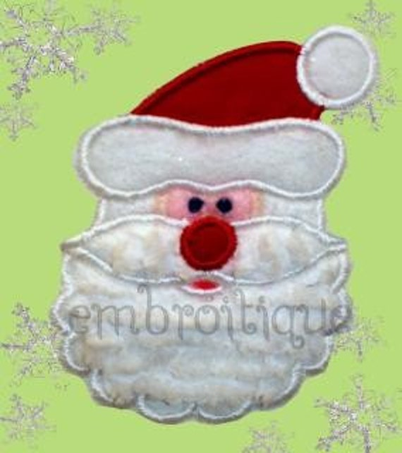 Santa Face Holiday Christmas Applique- Instant Email Delivery Download Machine embroidery design