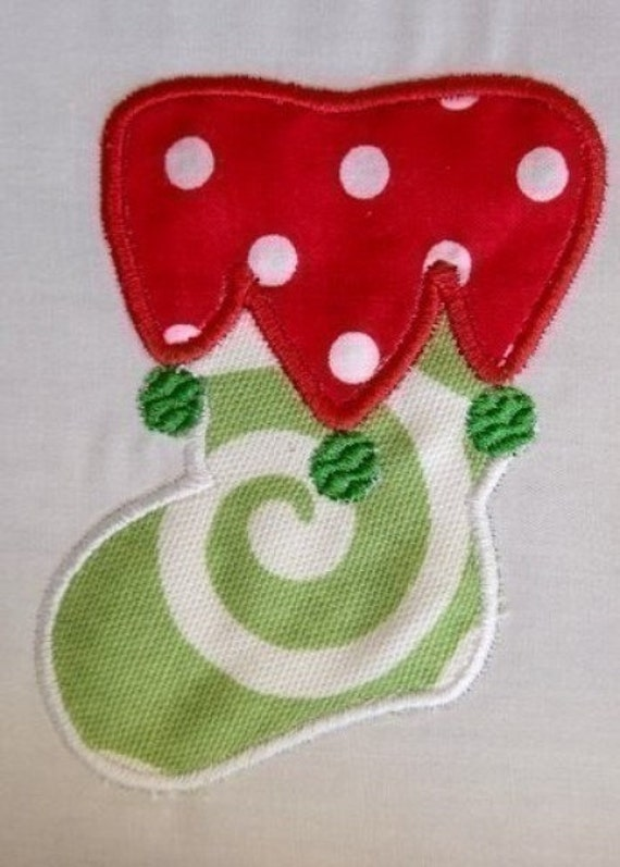Christmas Stocking 2 Applique - Instant Email Delivery Download Machine embroidery design