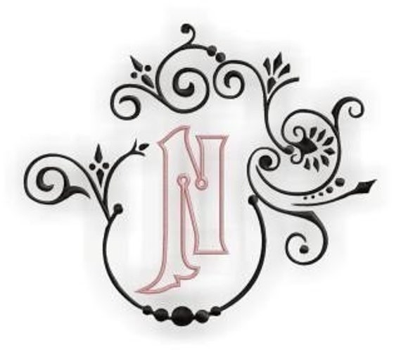 Natalya Monogram Font Frame & Alphabet - Outlined Center Monogram Set- Instant Email Delivery Download Machine embroidery design