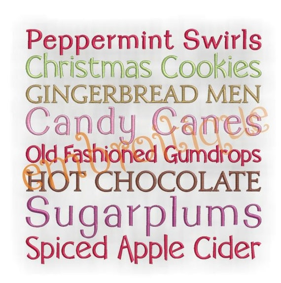 Christmas Candy Word Block- Instant Email Delivery Download Machine embroidery design