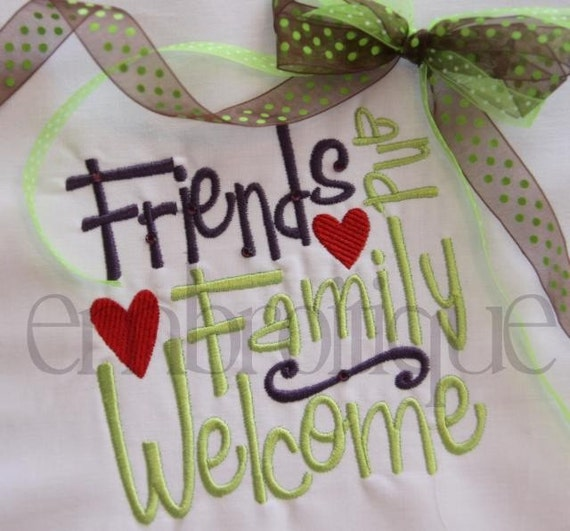 Friends and Family Welcome Word Block Home Decor by Embroitique