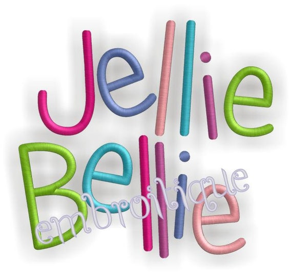 Jellie bellie simple font machine embroidery
