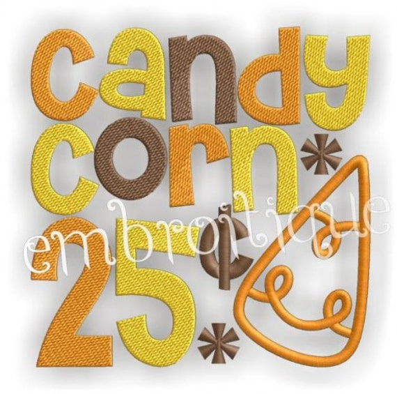 Candy Corn twenty five cents Halloween Word Block- Instant Email Delivery Download Machine embroidery design