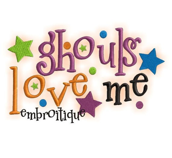 Ghouls Love Me Halloween Embroidery Design - Great for Boys- Instant Email Delivery Download Machine embroidery design
