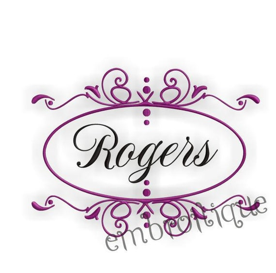 Rogers Font Frame- Instant Email Delivery Download Machine embroidery design