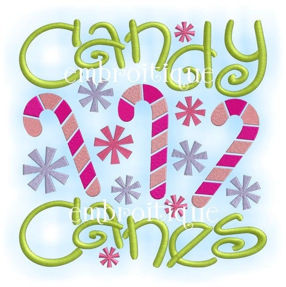 Candy Canes Word Block Holiday Christmas - Instant Email Delivery Download Machine embroidery design