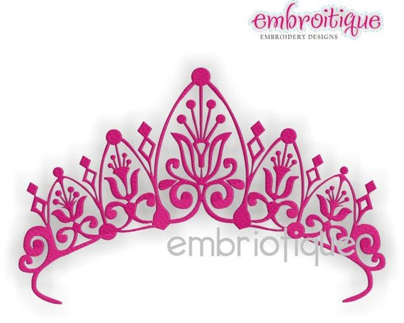 Royal Crown Princess Tiara- Instant Download -Digital Machine Embroidery Design