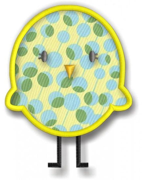 Springtime Birds and Trees - Plain Chickie Applique - Adrorable Bird Applique Instant Download Machine embroidery design