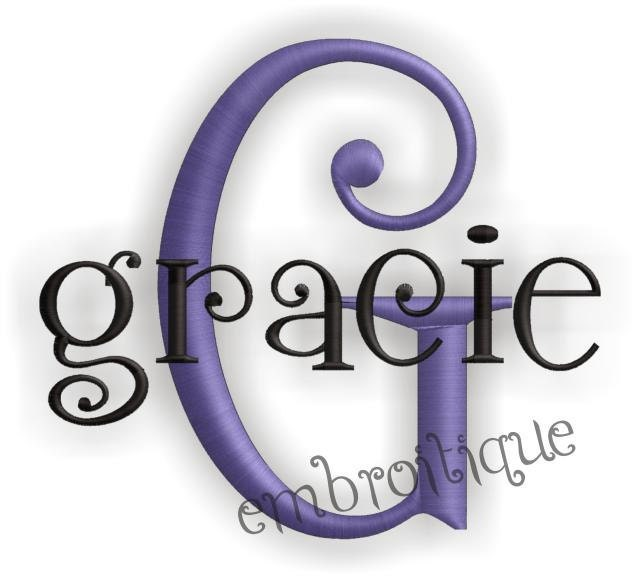 Gracie Embroidery Monogram Font Alphabet Letters Set Cute And