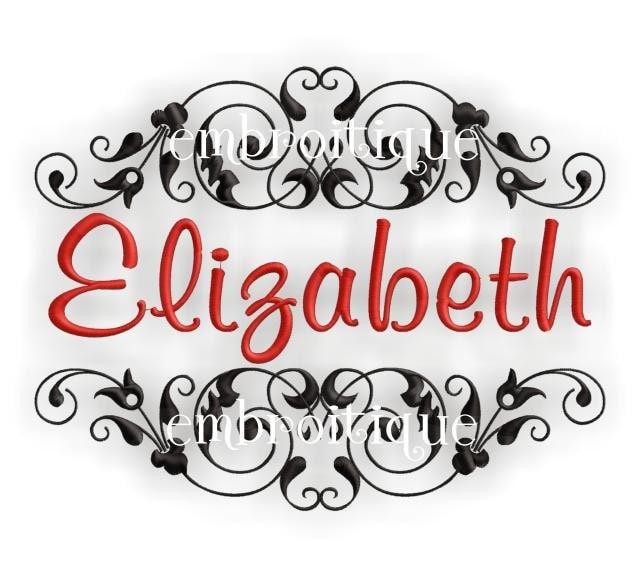 Elizabeth monogram font frame by embroitique on etsy
