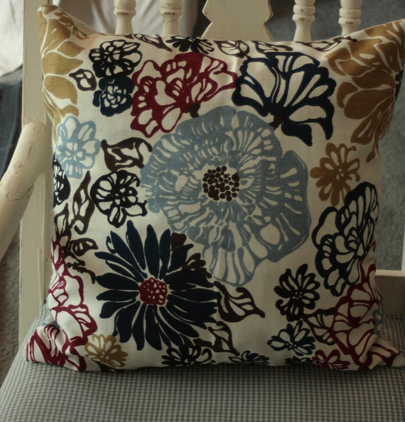 Reserved for Gail - Floral Blue Red Pillow Cover