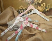 Fabric Covered Wooden Hangers Vintage Inspired