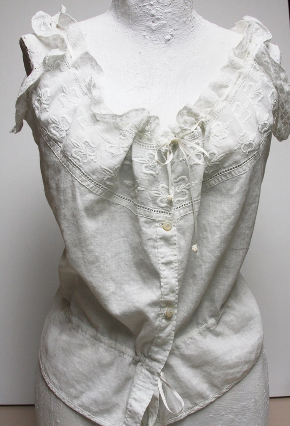 SALE SALE SALE Turn of the Century Cotton Under Garment witht Silk Ties, Antique Lace & Pearl Buttons