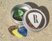 Guitar Pick Holder - Tin with Initial personalized pick design for guitarists and musicians