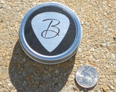Guitar Pick Tin with Initial personalized pick holder for guitarists and musicians Matte Black & Silver