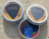 Guitar Pick Tin woodgrain and black - NOT personalized