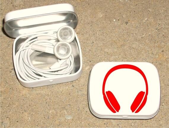 Tin ipod earbud tin white metal hinged tin 80's Headphone design - Red