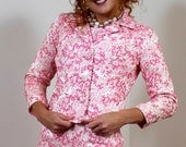 Vintage 1960s Jackie O' Mad Men Suit In Hot Pink With Pencil Skirt