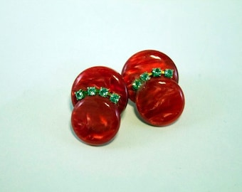 Vintage 1960s Red Plastic with Rhinestones Earrings