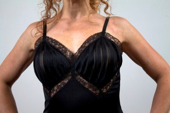 Vintage 1950s Slip Black Rockabilly with Ruffle and Lace Trim Size Small