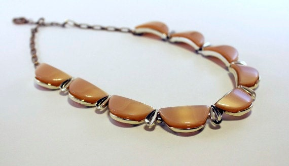 Vintage 1950s Tan Lucite Necklace Stamped Star
