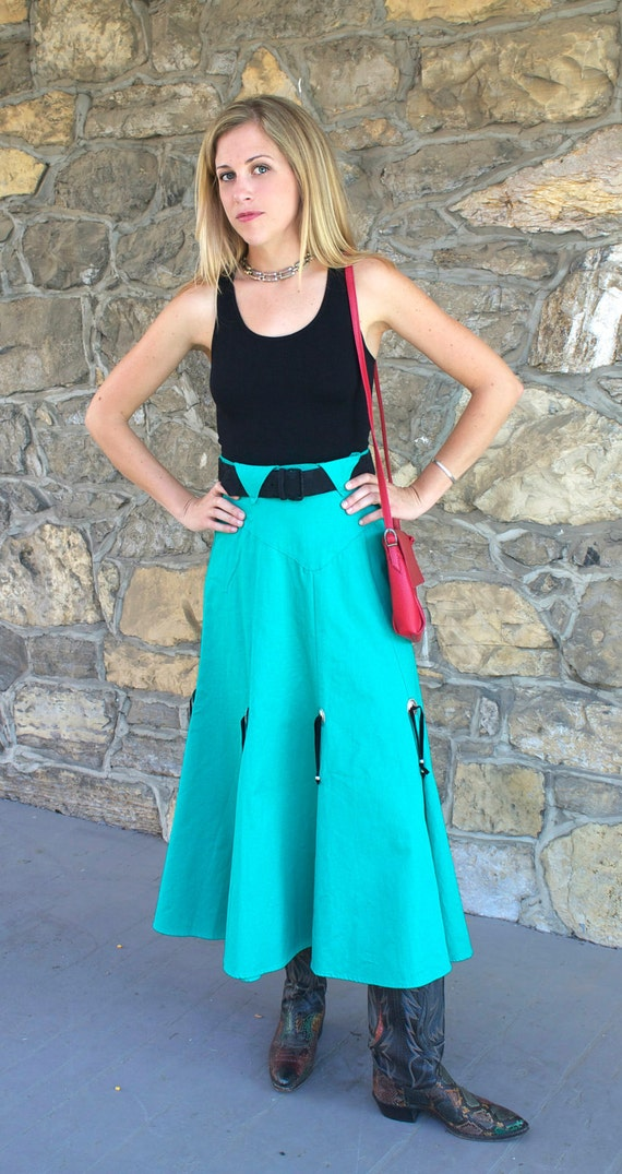 Vintage 1970s Western Skirt Green High Waisted Cowgirl Country