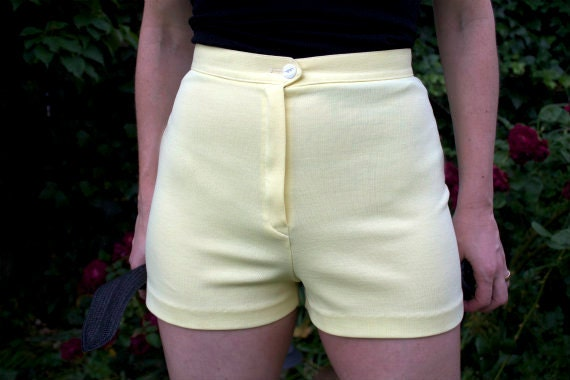 Vintage High Waisted Shorts Yellow Pinup Retro