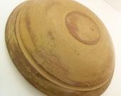 Vintage Wood Dough Bowl in Mustard Paint - Primitive