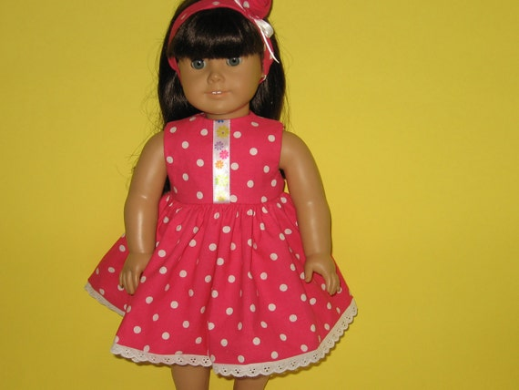 American Girl doll clothes, 18 inch doll clothes, Pink Dot  Sleeveless Dress