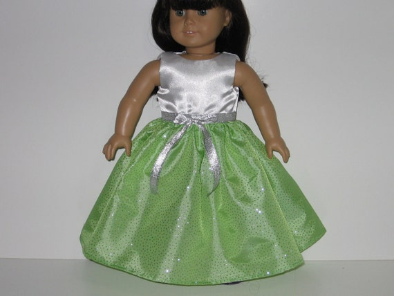 American Girl doll clothes, 18 inch doll clothes, Lime Green and White Sleeveless Dress