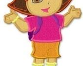 Dora applique machine embroidery design 5x7
