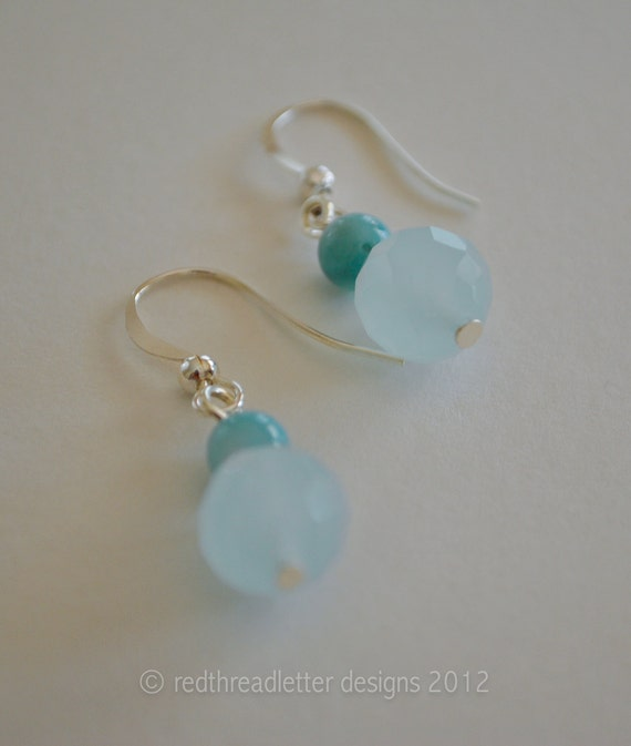 Light Blue Faceted and Turquiose Earrings