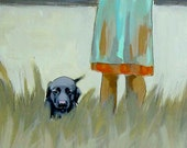 Pup in the Grass . black lab puppy dog . art print